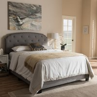 136-7440-RCW Classic Contemporary Light Beige Queen Upholstered Bed - Lexi