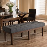 140-7567-RCW Mid Century Modern Dark Gray Large Upholstered Bench - Lucca