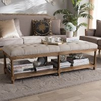 Classic Weathered Oak and Beige Linen Bench - Celeste