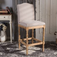 133-7375-RCW French Weathered Oak and Beige Bar Stool - Paige
