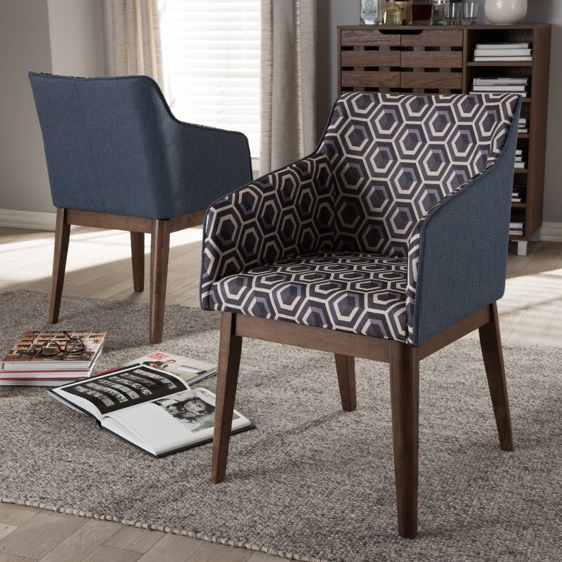 Mid Century Modern Dark Blue Patterned Accent Chair Set Of 2 Reece Rc Willey Furniture