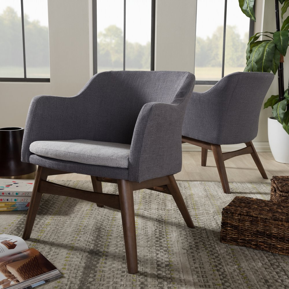 Mid Century Modern Two Tone Gray Accent Chair Set Of 2 Vera Rc Willey Furniture