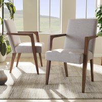 137-2PC-7364-RCW Mid-Century Modern Gray/Beige Accent Chair (Set of 2) - Andrea