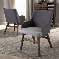 134-2PC-7176-RCW Mid-Century Modern Two-Tone Gray Dining Room Chair (Set of 2) - Monte
