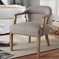 133-7367-RCW Classic Weathered Oak and Beige Accent Chair - Macee