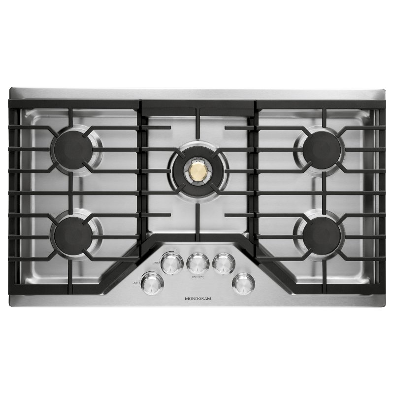 Ge Monogram 36 Inch Recessed Gas Cooktop Stainless Steel Rc Willey Furniture