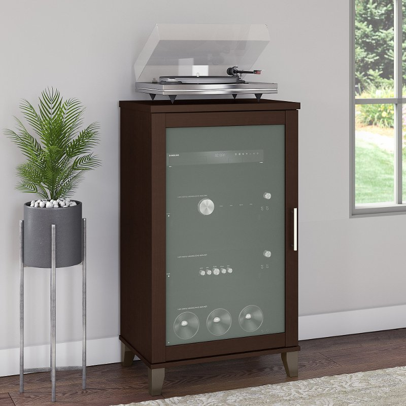Transitional Cherry Brown Media Cabinet   Somerset