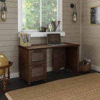 Coastal Cherry Brown Office Desk with Two Drawers - Volcano Dusk