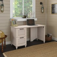 Driftwood Dreams White Office Desk with Two Drawers - Volcano Dusk