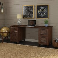 Long Cherry Brown Office Desk - Volcano Dusk