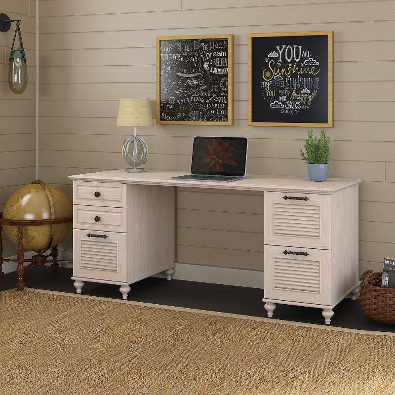 Long Driftwood Dreams White Office Desk - Volcano Dusk