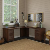 Cherry Brown L Shaped Desk with Drawers - Volcano Dusk