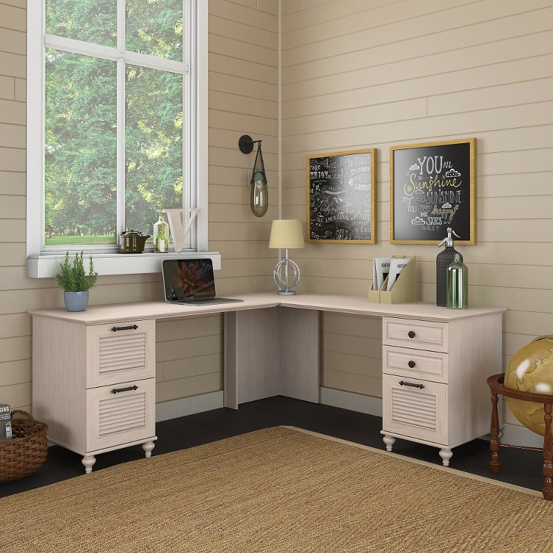 Antique White L Shaped Desk With Drawers Volcano Dusk