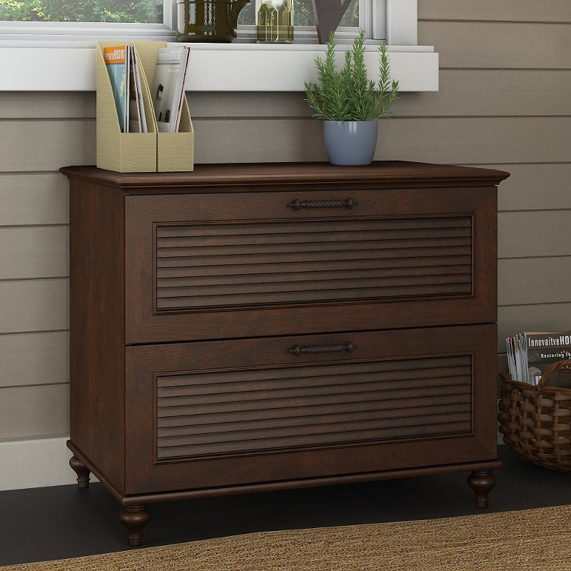 Cherry Brown 2 Drawer Wood Lateral File Cabinet - Volcano Dusk