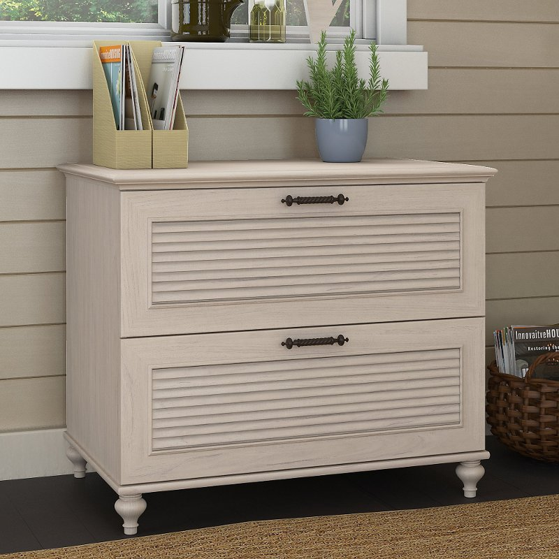Driftwood White 2 Drawer Wood Lateral File Cabinet Volcano Dusk