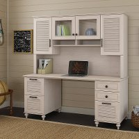 68 Inch Driftwood Dreams White Computer Desk with Hutch - Volcano Dusk