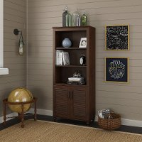 Coastal Cherry Brown Bookshelf with Doors - Volcano Dusk