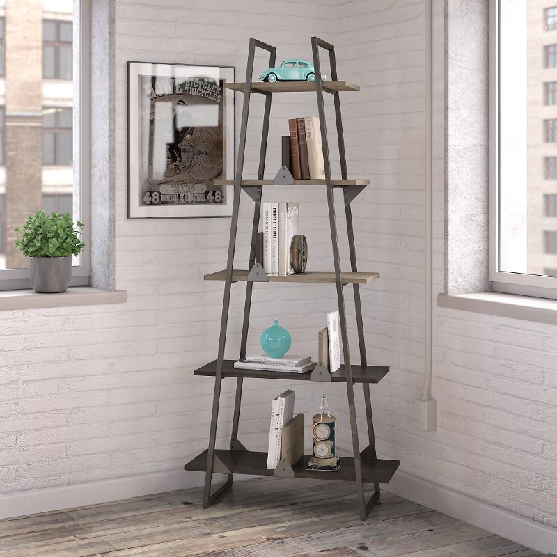 Rustic Gray A Frame Bookshelf Refinery Rc Willey Furniture Store