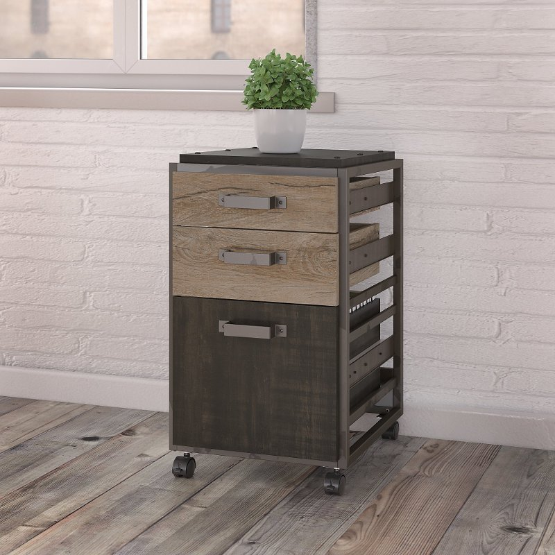 Rustic Gray 3 Drawer Mobile File Cabinet - Refinery