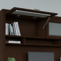 Mocha Cherry L-Desk, Hutch, File Cabinet, and Bookcase - Tuxedo