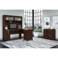 Mocha Cherry L-Desk, Hutch, and Lateral File Cabinet - Tuxedo