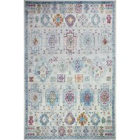 C186-IV-26x8-RO25A Transitional Ivory and Blue 8 Foot Runner Rug - Charleston