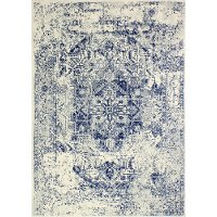 Contemporary Ivory and Blue 8 Foot Runner Rug - Everek