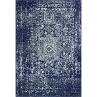 E110-DKBL-4X6-5438A 3 x 5 Small Contemporary Dark Blue Rug - Everek
