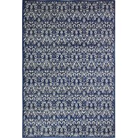 E110-DKBL-26X8-5439A Contemporary Dark Blue 8 Foot Runner Rug - Everek