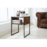 Natural Wood Brown and Metal End Table - Brixton