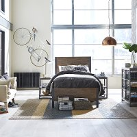 Modern Industrial Driftwood Brown Twin Bed - Barnside