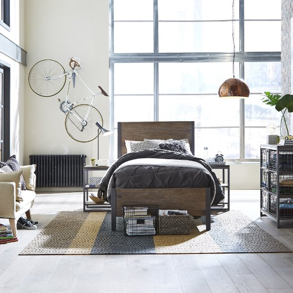 ... Driftwood Brown Twin Bed, 2 Night Tables, And Chest   Barnside