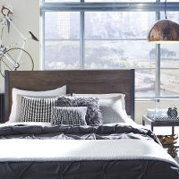 Driftwood Brown King Headboard & Night Table - Barnside