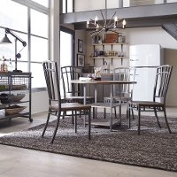 Gray Industrial 5 Piece Round Dining Set - Barnside Metro