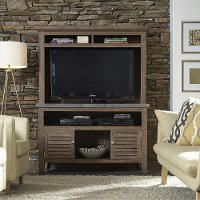 Brown 2 Piece Indoor-Outdoor Entertainment Center - Concrete Chic