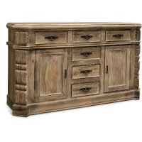 SB222/BUFFET Whitewashed Natural Wood Rustic Dining Room Buffet - Karsten