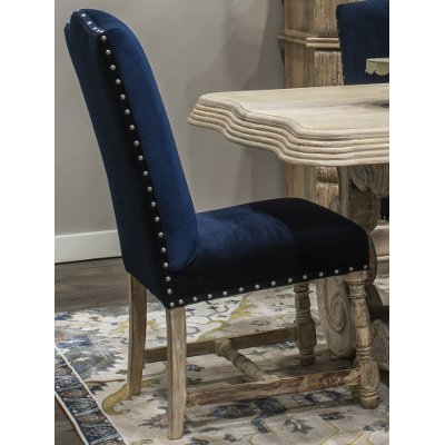 UH2021/SIDE-CHAIR Rich Blue Upholstered Dining Chair - Karsten