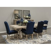 KIT Blue and Natural 5 Piece Dining Set with Upholstered Chairs - Karsten
