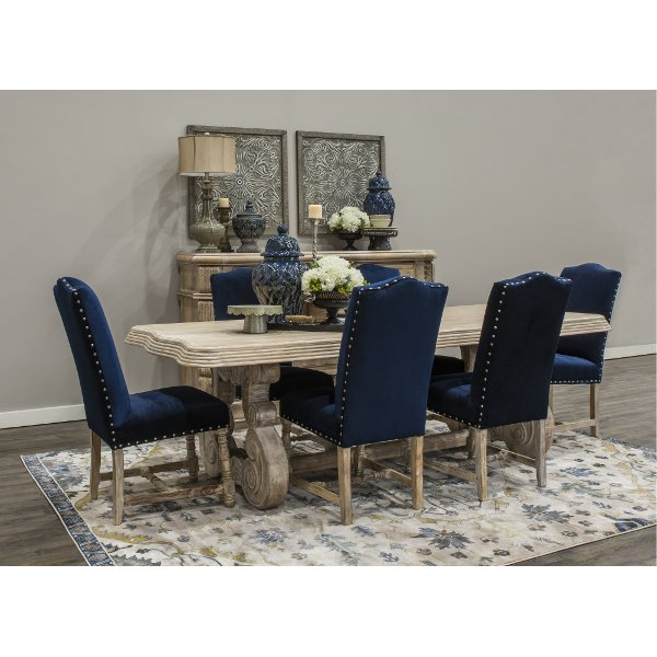 KIT Clearance Blue And Natural 5 Piece Dining Set With Upholstered Chairs