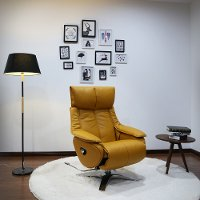 Yellow Top Grain Leather Swivel Recliner - Vienna