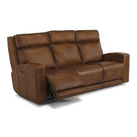 Rustic Brown Leather Power Reclining Sofa - Archer