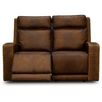 Wondrous Rustic Brown Leather Power Reclining Loveseat Archer Andrewgaddart Wooden Chair Designs For Living Room Andrewgaddartcom
