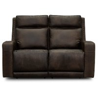 Taupe Brown Leather Power Reclining Loveseat - Archer