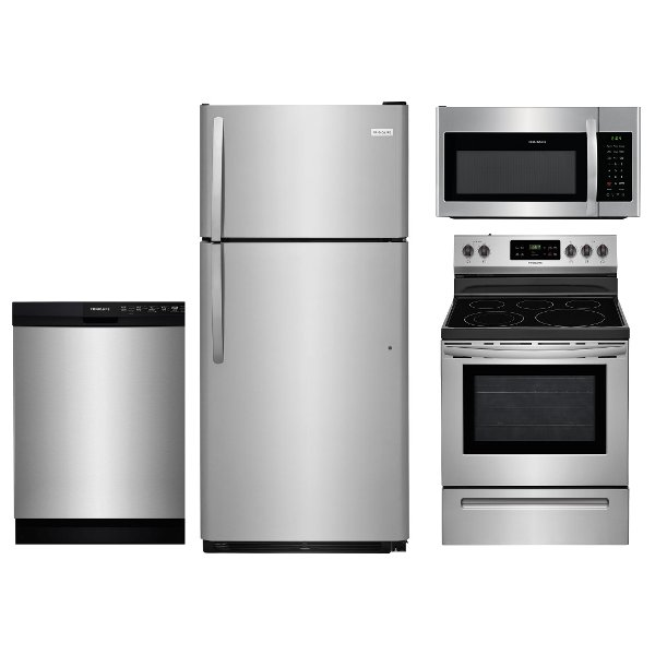 ... KIT Frigidaire 4 Piece Kitchen Appliance Package With Electric Range    Stainless Steel