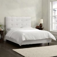 793BEDPRMWHT White Square Tufted King Size Upholstered Bed