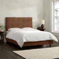 793BEDPRMCHC Chocolate Square Tufted Upholstered King Size Bed