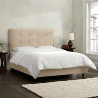 790BEDPRMOTM Oatmeal Square Tufted Upholstered Twin Bed