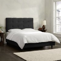 794BEDPRMBLC Black Square Tufted Upholstered California King Bed