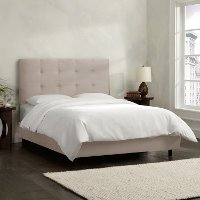 790BEDPRMPLT Light Gray Square Tufted Upholstered Twin Bed
