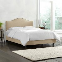 913NBBED-BRLNNSND Tan Nailhead Trim King Size Upholstered Bed